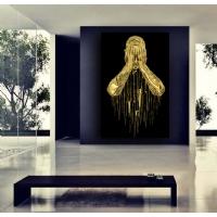 Simli Kanvas Kare Tablo Pişmanlık Gold Sim İşlemeli