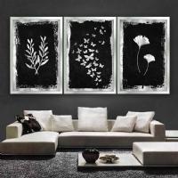 Gümüş Sim İşlemeli Kelebek Yaprak Zeytin Dalı 3´Lü Çerçeveli Kanvas Tablo