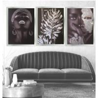 Gümüş Sim İşlemeli Siyahi Kadınlar Çerçeveli Kanvas Tablo Kombini
