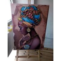 Gold Sim İşlemeli Yağlı Boya Görünümlü Kadın Kanvas Tablo