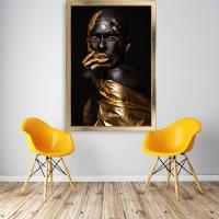 Eli Yüzünde Gold Kadın Çerçeveli Kanvas Tablo