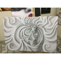 Gümüş Sim İşlemeli Taş Kadın Kanvas Tablo