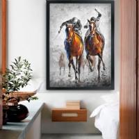 Jokey Atlar Siyah Çerçeveli Kanvas Tablo