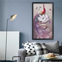 Kabartma Görünümlü Tavus Kuşu Siyah Çerçeveli Kanvas Tablo