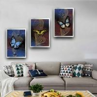 Kelebekler Sim İşlemeli 3 Lü Çerçeveli Kanvas Tablo Seti