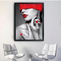 Kırmızı Kafalı Kadın Siyah Çerçeveli Kanvas Tablo