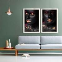 Makyajlı Kadın 2 Li Ayna Çerçeveli Kanvas Tablo Seti