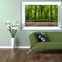 Ayna Çerçeveli Orman Manzara Kanvas Tablo