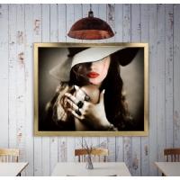 Siyah Beyaz Şapkalı Kadın Çerçeveli Kanvas Tablo