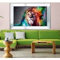 Ayna Çerçeveli Renkli Aslan Model Kanvas Tablo