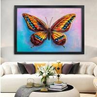 Renkli Kelebek Siyah Çerçeveli Kanvas Tablo