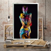 Renkli Nü Kadın Kanvas Tablo Simsiz
