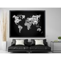 Siyah Beyaz Dünya Haritası Siyah Çerçeveli Kanvas Tablo