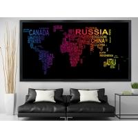 Renkli Dünya Haritası Siyah Çerçeveli Kanvas Tablo