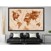 Dünya Haritası Siyah Çerçeveli Kanvas Tablo