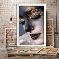Aynalı Gold Siyah Makyajlı Kadın Kanvas Tablo