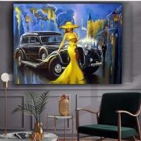 Sim İşlemeli Sarı Elbiseli Kadın Kanvas Tablo