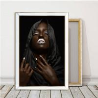 Aynalı Gold SBL-059 Örtülü Siyahi Kadın Kanvas Tablo
