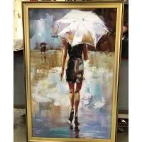 Çerçeveli Tablo Şemsiyeli Kadın