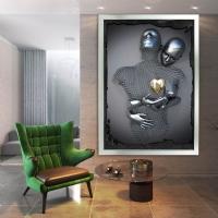Simli Kanvas Dikdörtgen Tablo 3D Görünümlü Aşk Çiftleri