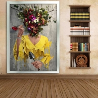 Simli Kanvas Dikdörtgen Tablo Çiçek Kafalı Kadın