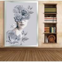 Simli Kanvas Dikdörtgen Tablo Çiçek Kafalı Kadın Sim İşlemeli