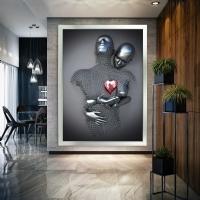 Simli Kanvas Dikdörtgen Tablo Kırmızı Kalp Sim İşlemeli