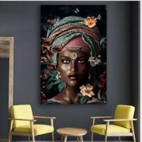Siyahi Kadın Sim İşlemeli Kanvas Tablo