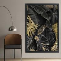 Tropikal Yapraklar Siyah Çerçeveli Kanvas Tablo
