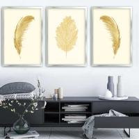 Tüy ve Yaprak 3 Lü Çerçeveli Kanvas Tablo Seti Sim İşlemeli