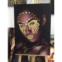 Gold Sim İşlemeli Afrikalı Kadın Kanvas Tablo