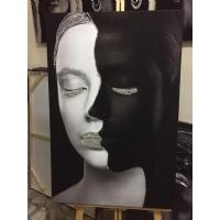Gümüş Sim İşlemeli Siyah Beyaz Kadın Kanvas Tablo