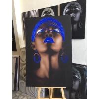 Mavi Sim İşlemeli Siyahi Kadın Kanvas Tablo