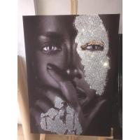 Gümüş Sim İşlemeli Düşünen Siyahi Kadın Kanvas Tablo