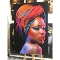 Özel Sim İşlemeli Siyahi Kadın Kanvas Tablo