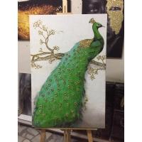 Gold Sim İşlemeli Tavus Kuşu Kanvas Tablo