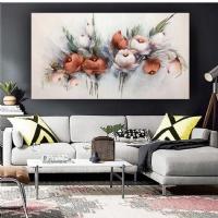 Yağlıboya Görünümlü Sim İşlemeli Kırmızı Çiçekler Panoramik Kanvas Tablo