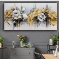 Yağlıboya Görünümlü Sim İşlemeli Sarı Çiçekler Panoramik Kanvas Tablo