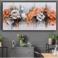 Yağlıboya Görünümlü Sim İşlemeli Turuncu Çiçekler Panoramik Kanvas Tablo