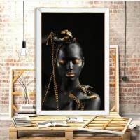 Aynalı Gold Zincirli Kadın Kanvas Tablo
