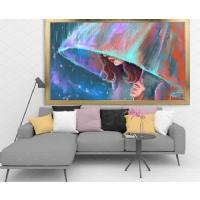 Suluboya Görünümlü Şemsiyeli Kadın Çerçeveli Kanvas Tablo