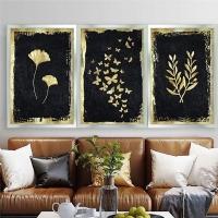 Gold Sim İşlemeli Kelebek Yaprak ve Zeytin Dalı 3´Lü Çerçeveli Kanvas Tablo